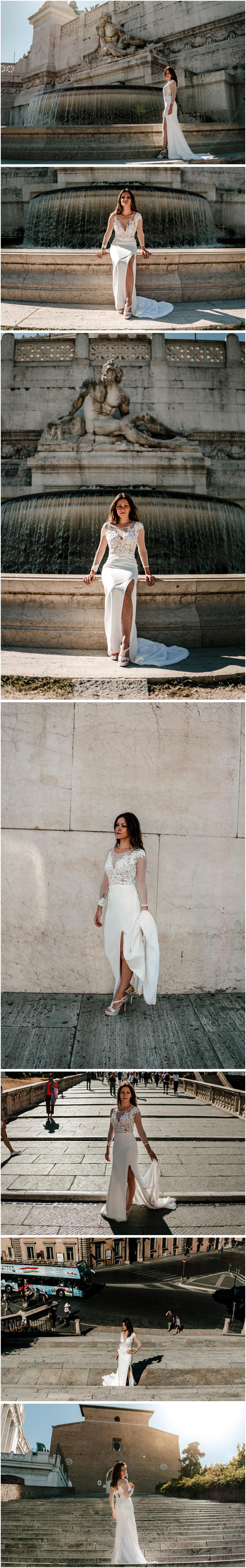 una mujer vestida de novia se pasea por roma