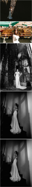 mujer con vestido de novia andando por Roma