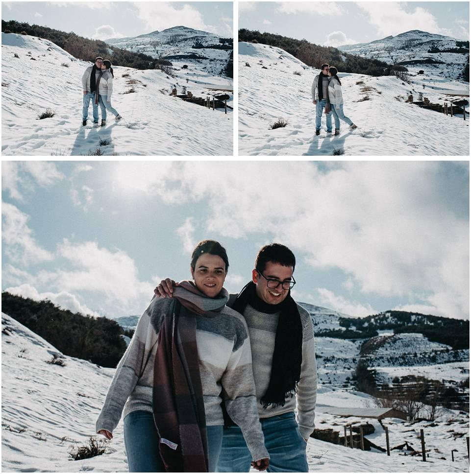 sesion de fotos pareja en la nieve