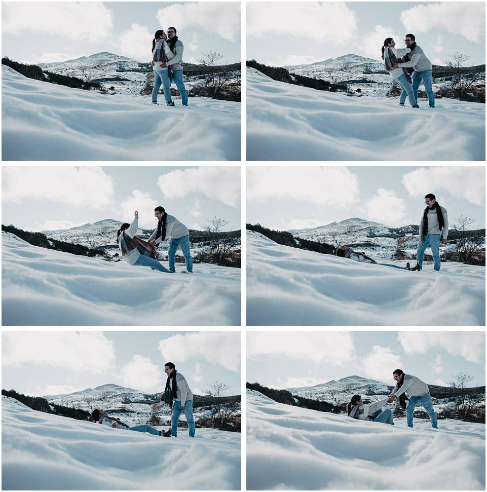sesión de pareja en la nieve