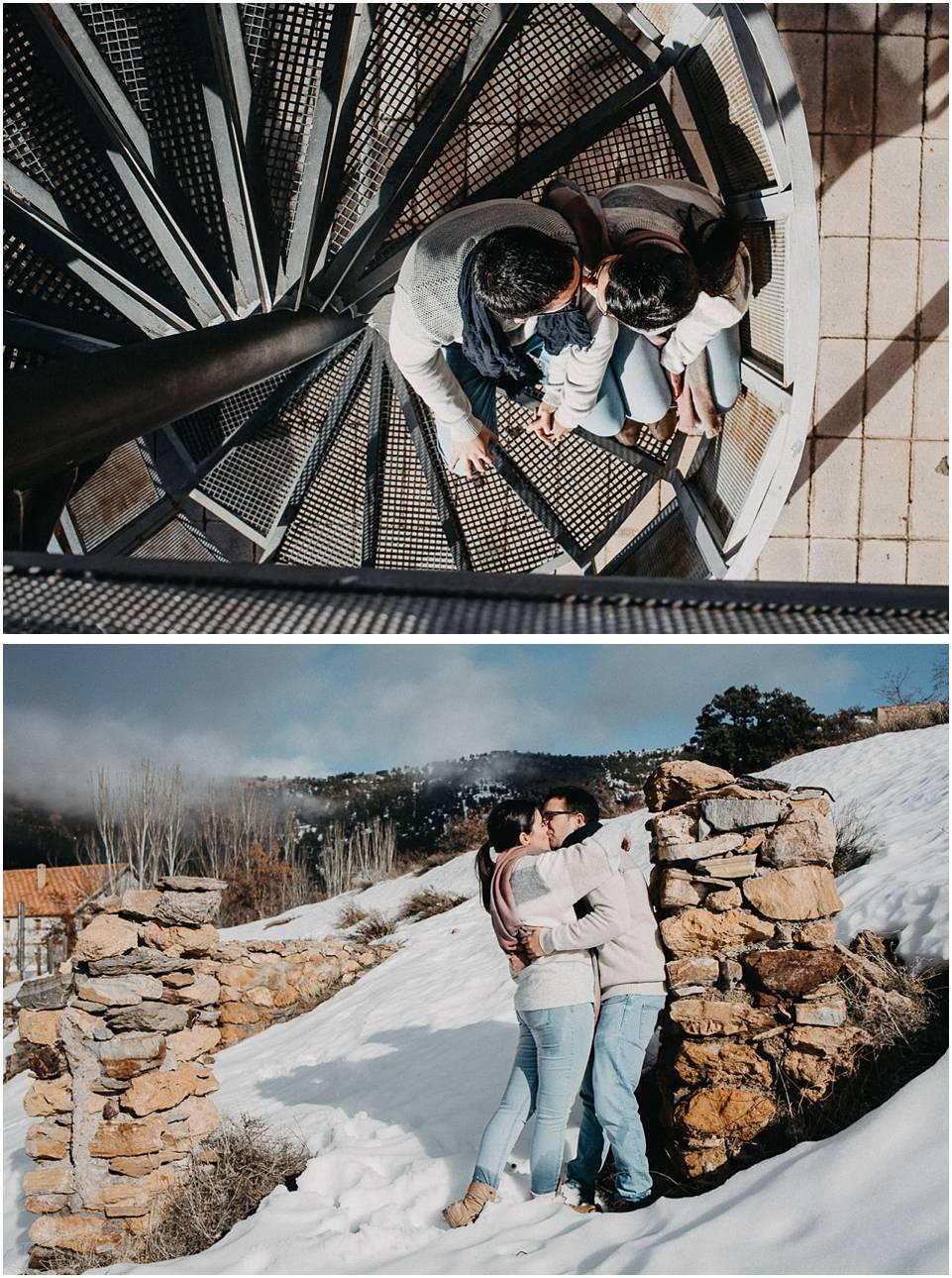 sesion fotografica de pareja en la nieve