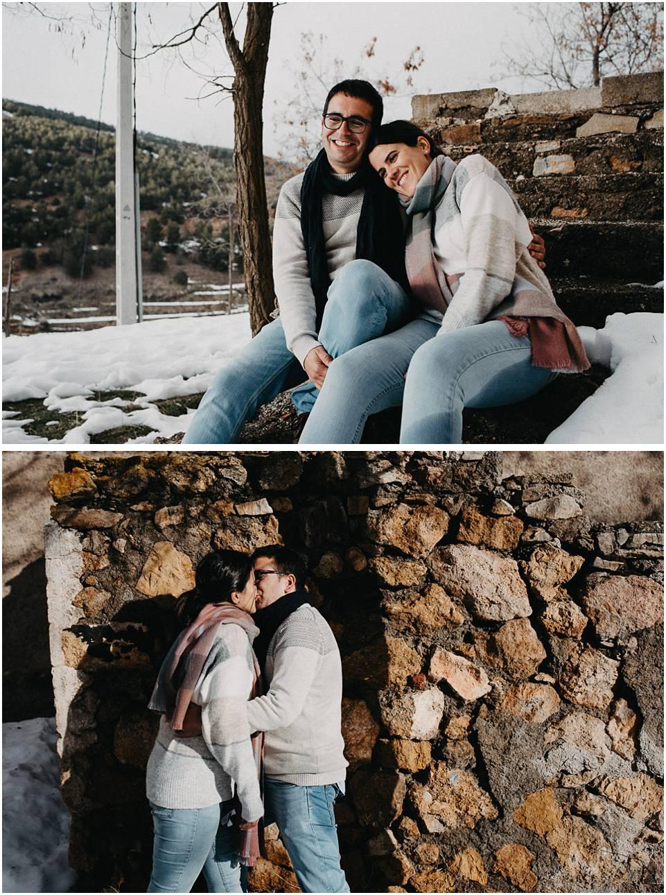 parejas en la nieve