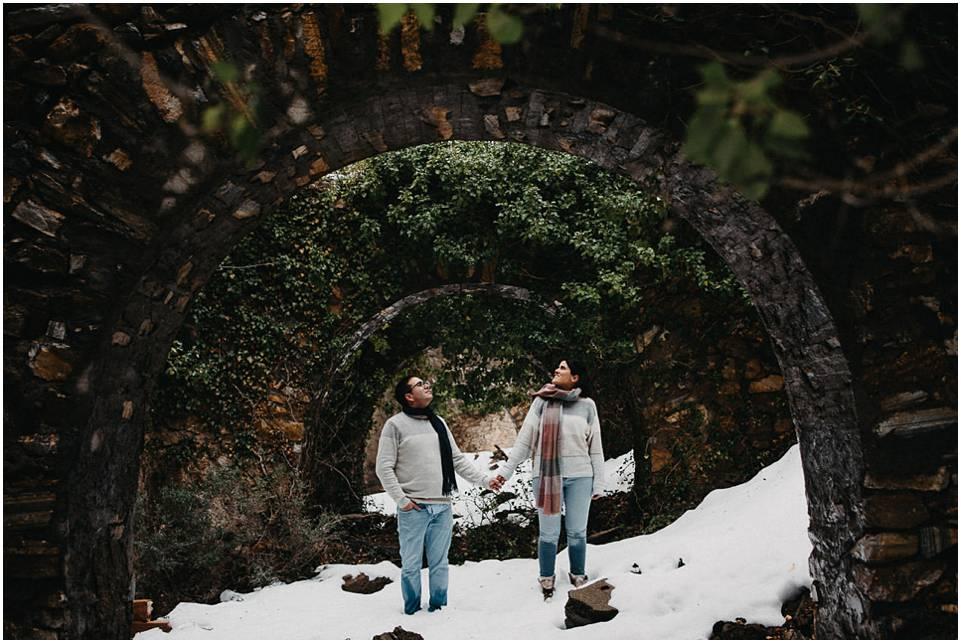 sesión de pareja en la nieve en Almeria