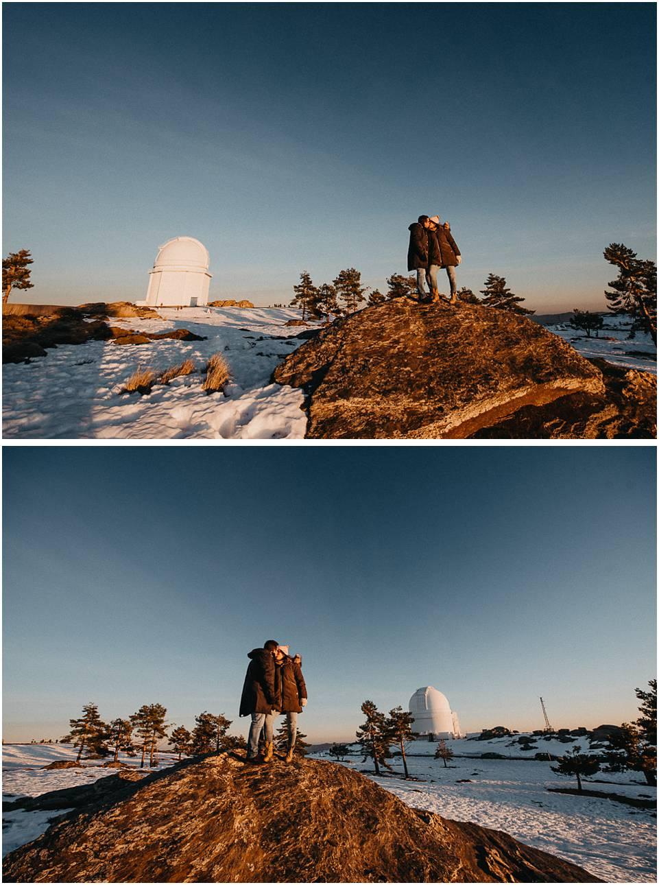 fotos de pareja en el observatorio Calar Alto