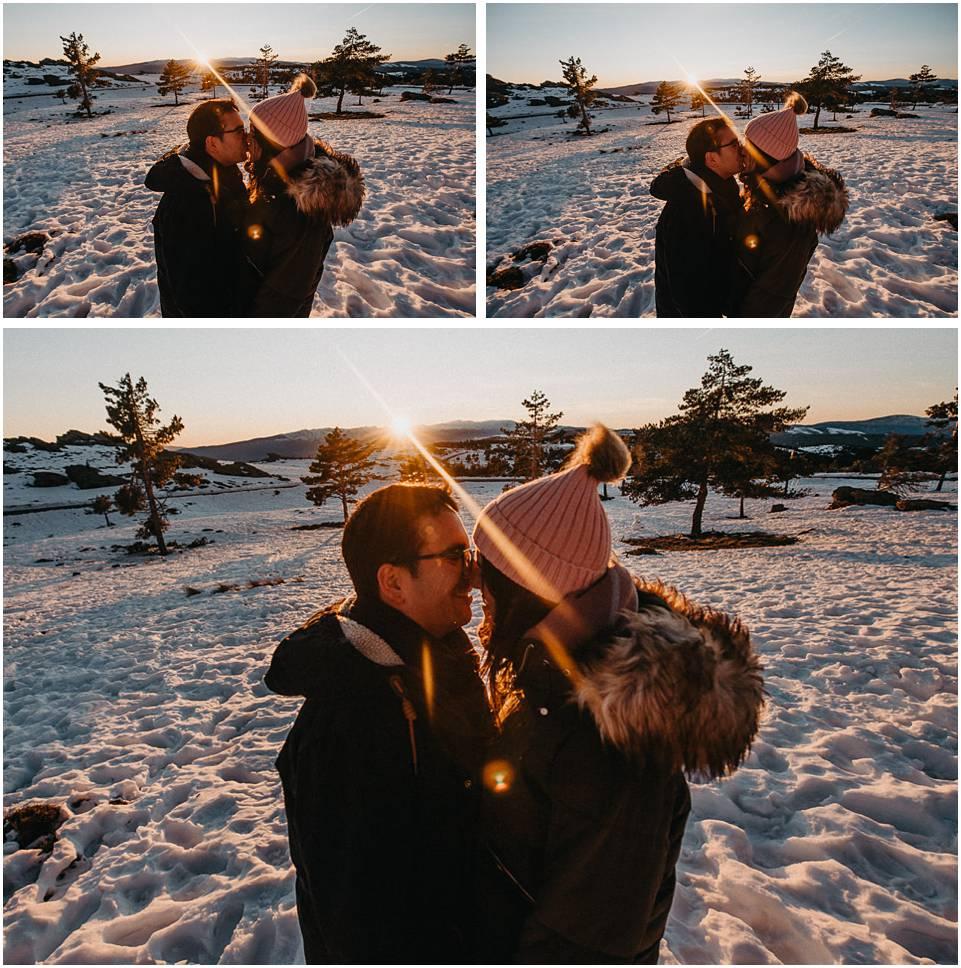 fotos de pareja con puesta de sol en Calar Alto