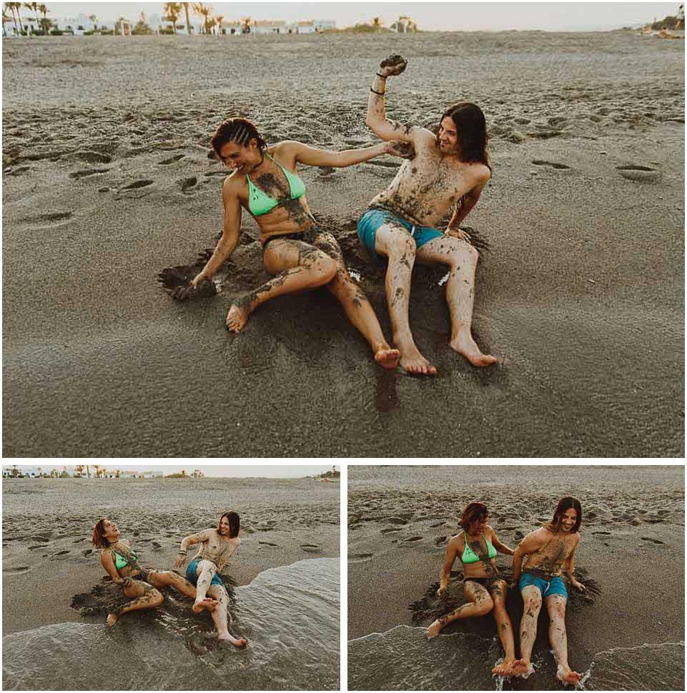 fotos de pareja con arena de playa