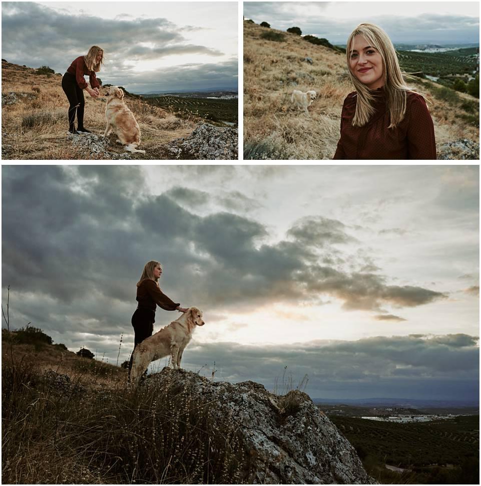 mujer con Labrador Retriever